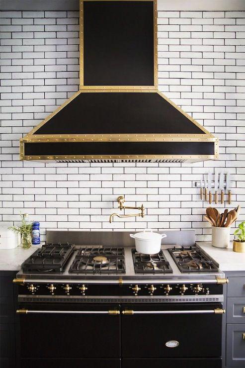 Best Black Gold Range Hood On Ceiling Height Subway Tiled 400 x 300