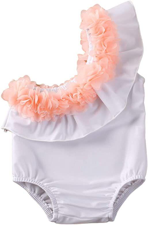 Carolilly Neonate Costume da Bagno Bambina Un Pezzo con Stampa Flamingo Costumi da Bagno con Gonna in Tulle Rosa da 1-6anni Bambini