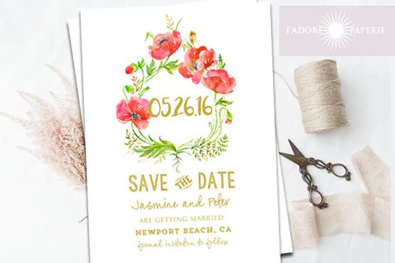 Save The Date Invitation, Printable, Poppy Save the Date, Poppy Invitation, Red…