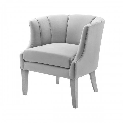 Light Grey Velvet Piped Stitching Accent Chair Accent Chairs