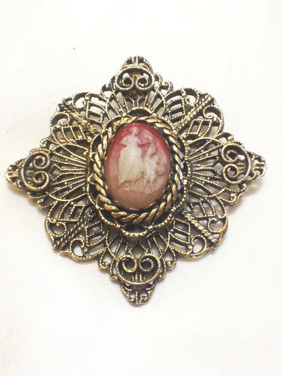 Vintage Brasstone or Dark Goldtone Filigree Cameo Brooch and/or Pendant