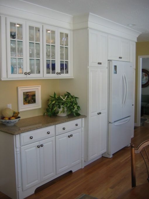 glass faced upper cabinets & built in around fridge | Kitchen ...