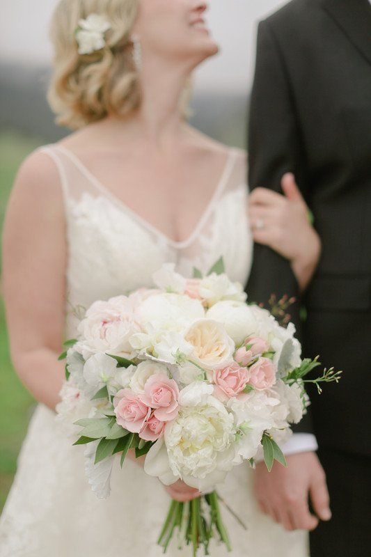 Spring Wedding Bouquet Idea White Pink Bouquet With Roses