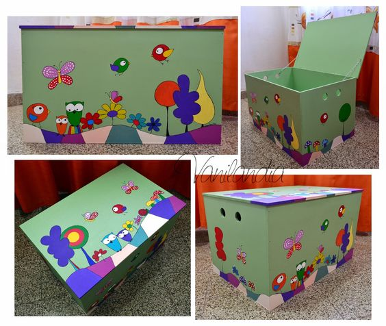 Ba l de madera pintado para guardar juguetes medidas for Decorar baul infantil