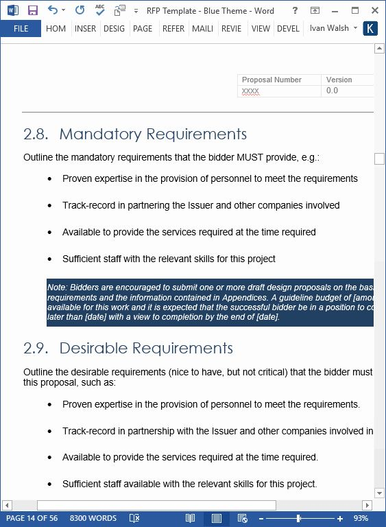 20 Request For Proposal Template Word In 2020 Request For
