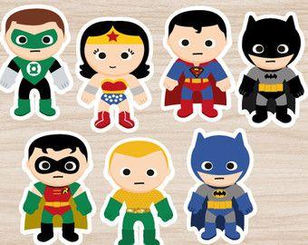 Superheroes cupcake toppers Superhero stickers por PrinterFairy