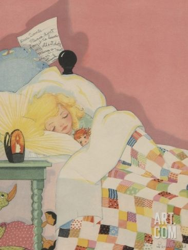 Blond girl sleeping with note for Santa Claus Photographic Print at Art.com