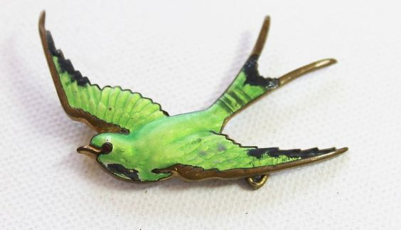 Vintage Pasadena Jewelry Brooch Pin goldtone metal enamel bird
