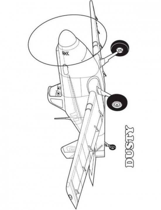 Dusty Printable Free Planes Coloring Sheets 550x715