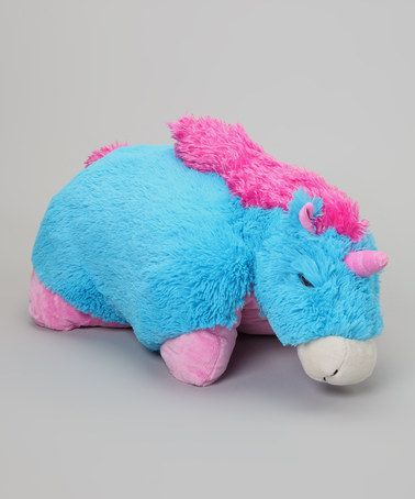 Take a look at this Neon Blue Unicorn Pillow Pet by Pillow ...