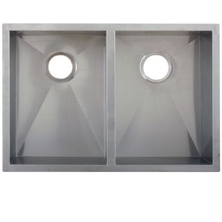 Ticor 29-inch 16-gauge Stainless Steel Double Bowl Zero Radius Undermount Square Kitchen Sink