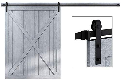 Easelife 12 Ft Heavy Duty Sliding Barn Door Hardware Track Kit Ultra Hard Sturdy Sliding Smooth Quiet E Sliding Glass Barn Doors Barn Door Glass Barn Doors