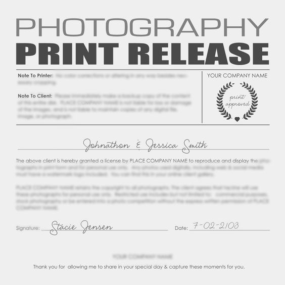When supplying your customers with a disk and the expectations - photography copyright release form
