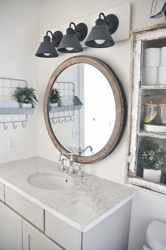 Diy farmhouse bathroom vanity light fixture large - Round mirror over bathroom vanity ...