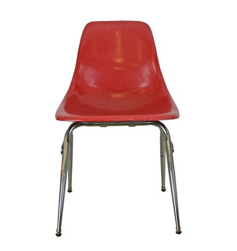 Bright Red Fiberglass Shell Chair W/ Chrome Base C1960  F0614
