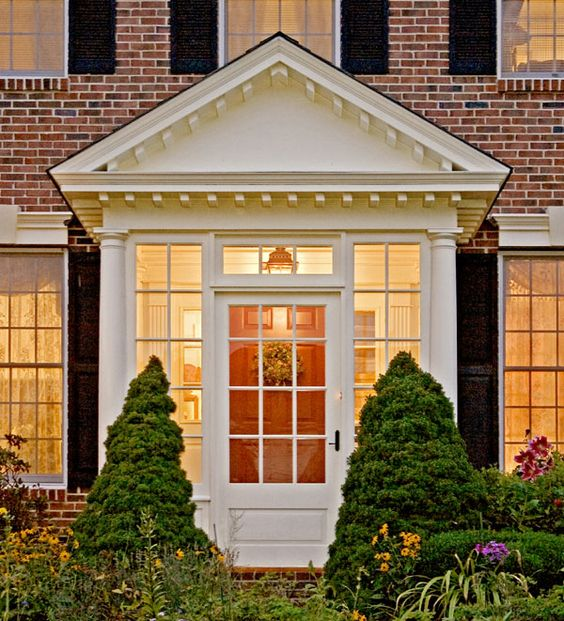 Small Enclosed Front Porch Entry: Exterior Renovation Portico