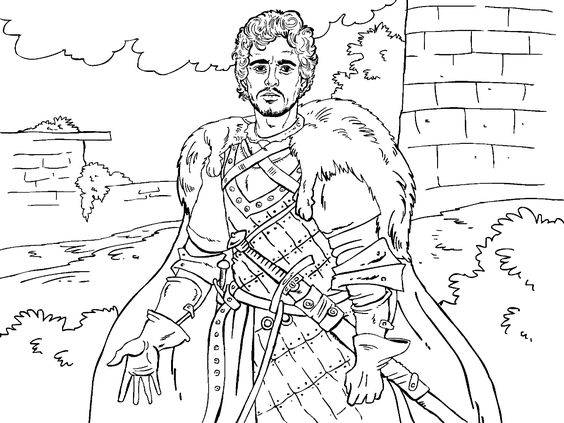 Game Of Thrones Colouring In Page - Robb