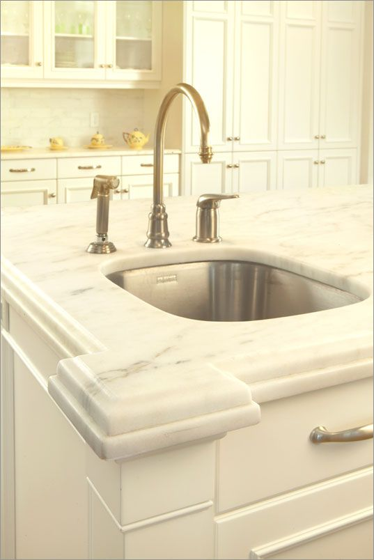 Imperial Danby Marble With Laminated Edge On White Cabinets. Visit  Globalgranite.com For Your Natural Stone Needs. | Marvelous Marble Kitchens!