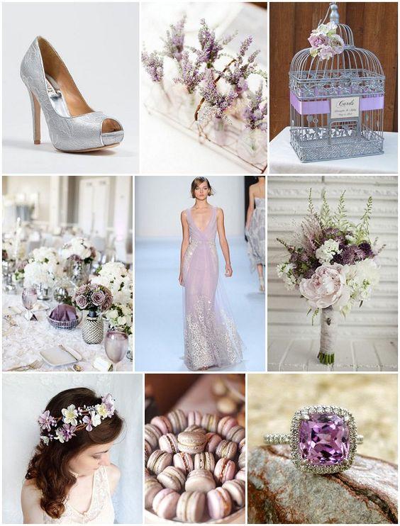 Ein tolles Inspirationsboard für eine Hochzeitsdeko in silber und lila.
