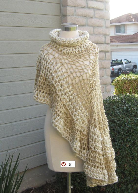 PONCHO capa BEIGE Crochet tejer chal crema cuello Boho Hippie ...