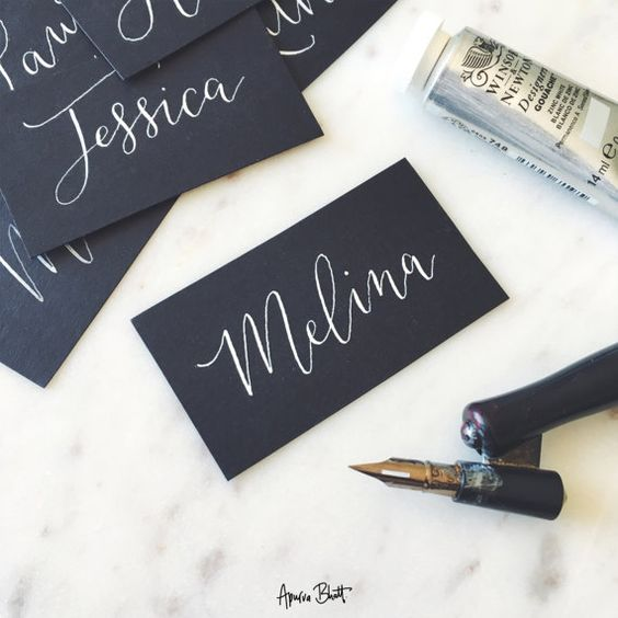 Hand Lettered Place Cards White on Black Modern Calligraphy