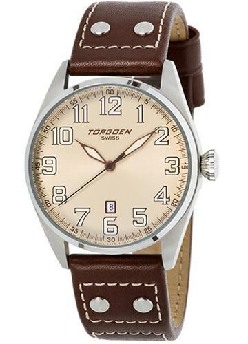 Torgoen T28103 aviator watch with polished stainless steel bezel case, brown leather strap with rivets.