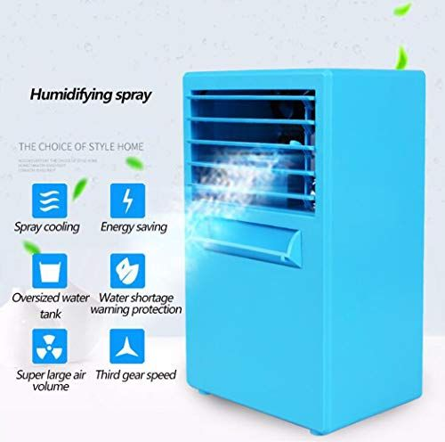 Greatssly Portable Air Conditioner Fan Mini Personal Evaporative Air Cooler Small Desktop Cooling Fan With 7 Colors Led Lights Super Quiet Personal Table Fan