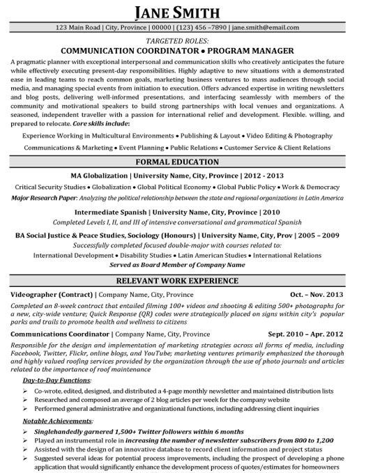 Communication Coordinator Template Program Manager Premium Samples Example Resumecommunicatio Programme Manager Manager Resume Cover Letter For Resume