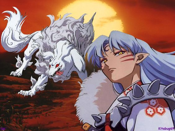 Sesshomaru's human-like appearance as a demon and his true form as ...