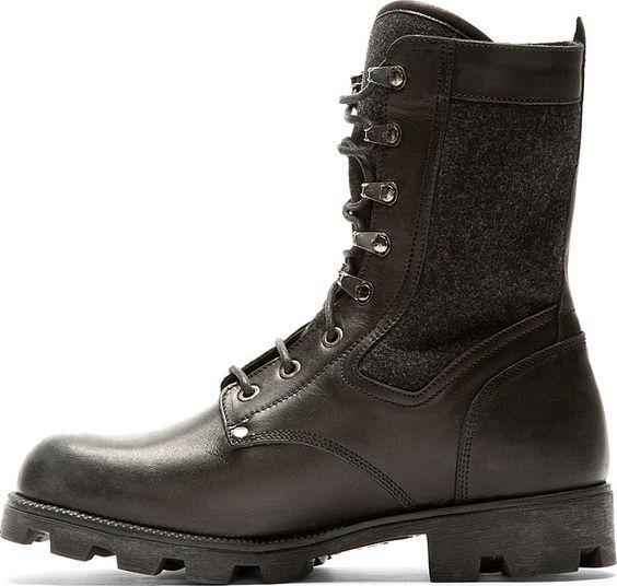 Maison Martin Margiela: Black Leather & Wool Combat Boots