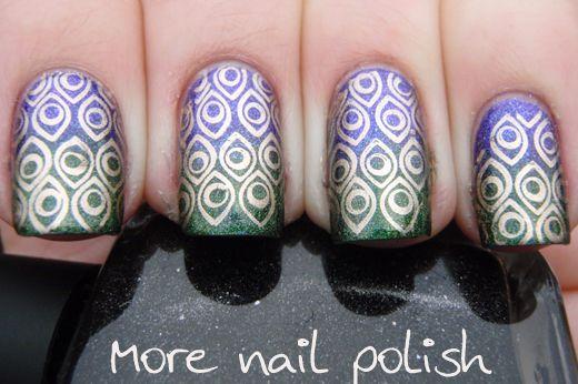 Peacock inspired gradient: Nails Art, Peacock Nails, Beautiful Nails, Gnarly Nails, Funky Nails