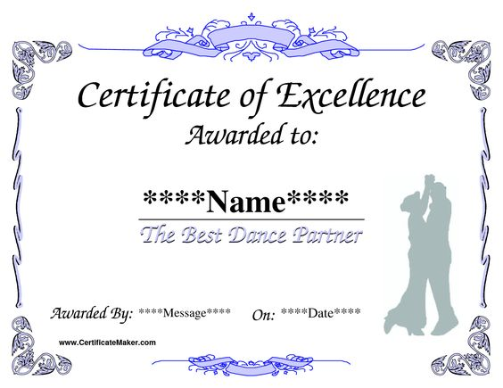 Dance Award Certificate Template Places to Visit Pinterest - acknowledgement certificate templates