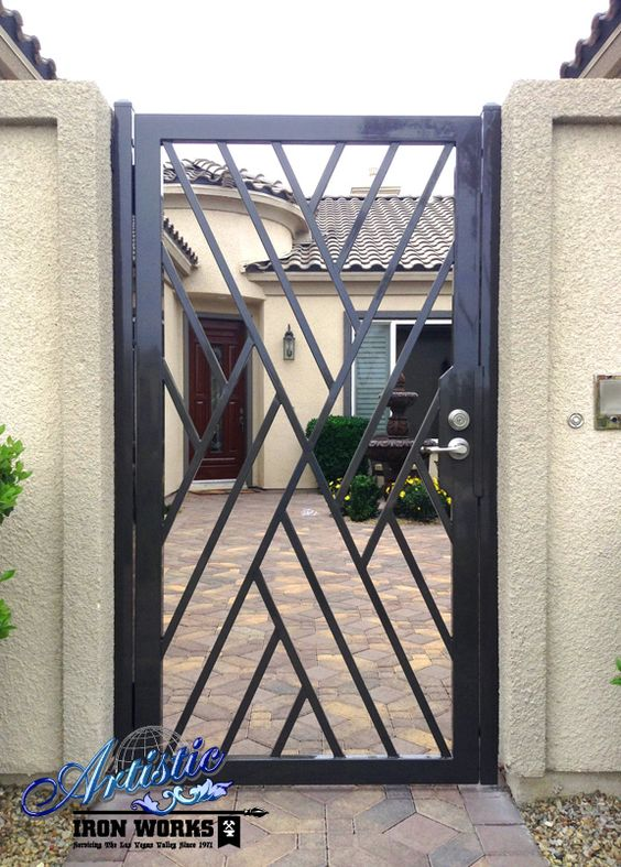 Wrought iron crisscross front entry gate wrought iron for Modern front gate design