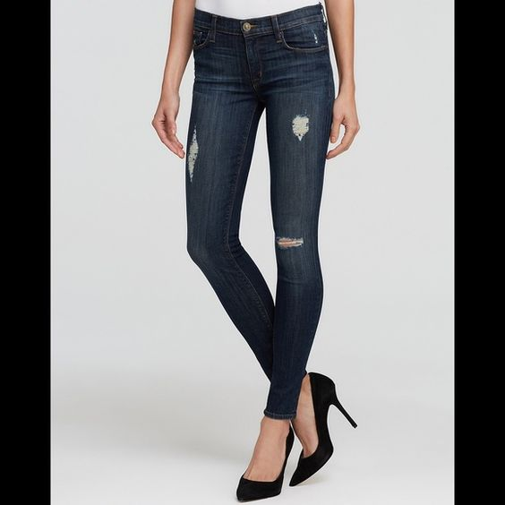 "Hudson 'Nico' Skinny Jeans Jeans. Skinny leg fit, dark-rinse stretch denim with slight distressing. Zip fly with button closure. Five-pocket style. 30"" inseam, 10"" leg opening, 9 1/4"" front rise, 10"" back rise. 90% cotton, 6% polyester, 4% elastane. Machine wash cold, dry flat. Never worn. No trades. Hudson Jeans Jeans Skinny"