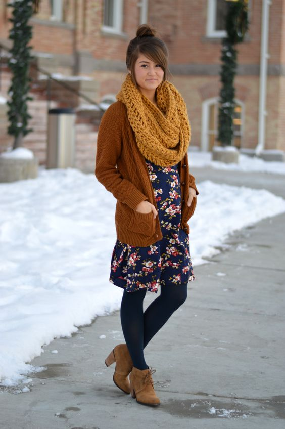brown booties, blue tights, flower dress, cardie and scarf.