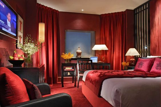 Red bedroom asian style