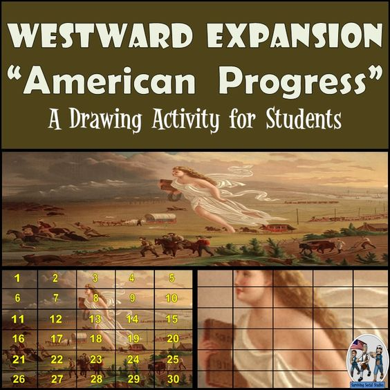 american progress American progress is depicted as a light-haired woman, classically dressed, who is leading the americans west she guides and protects miners, farmers, covered wagons, railroads, and even a stage coach, displacing indian families and the buffalo of the great plains.