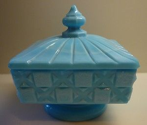 "Vintage Westmoreland ""Old Quilt"" Blue Milk Glass Jar Box with Lid Checkerboard 
