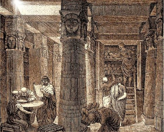 c332BC- (48BC-c640AD) Great Library of Alexandria, >700,000 scrolls, replacing Memphis (capitol of Egypt)..