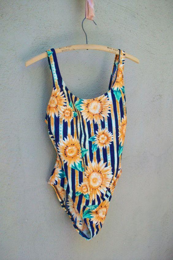 Vintage 1990's Sunflower Print One Piece Swimsuit  M