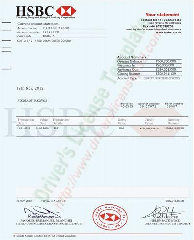 Hsbc Bank Account Statement Psd  Bank Statement Psd