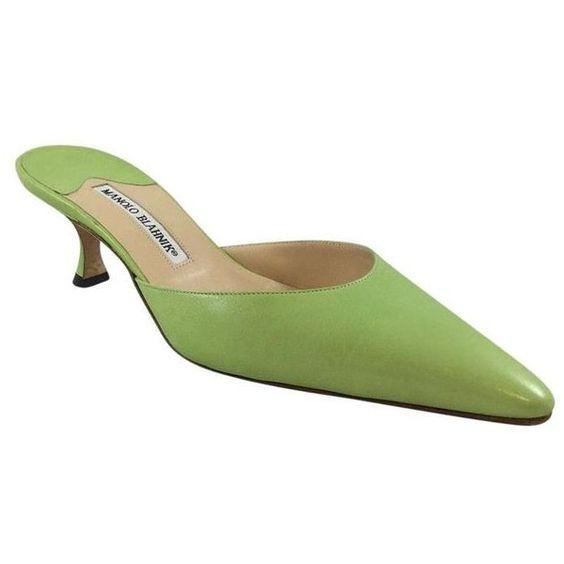 Pre-Owned Lime Green Leather Kitten Heel Slides 38.5 ($215 ...