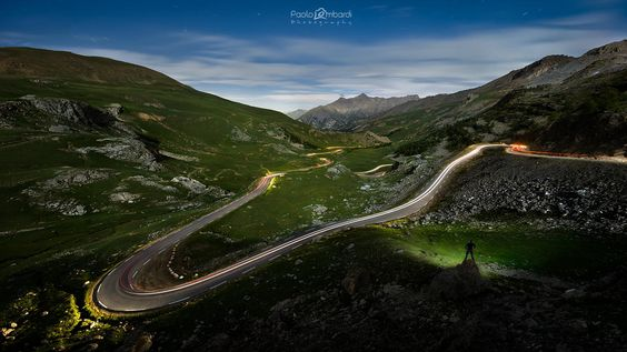 Col de La Bonette Supermoon Nightscape - Scendendo a Jausiers - France