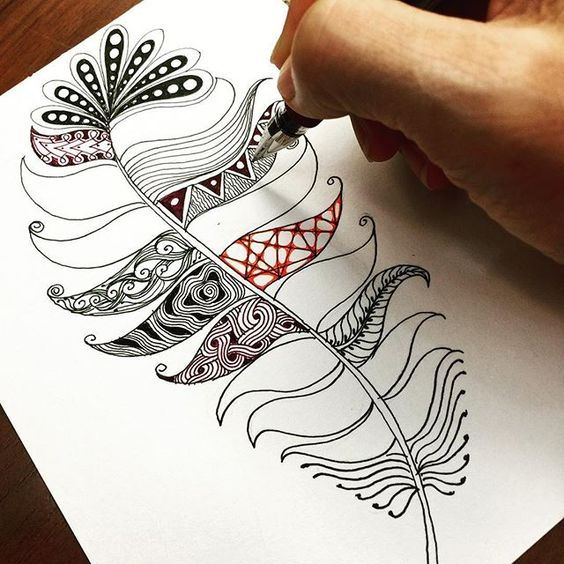 Feather zentangle  or zia                                                                                                                                                      More