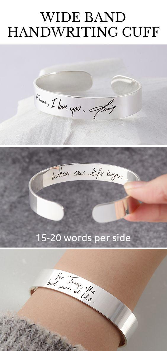 Engraved Handwriting Cuff Bracelet