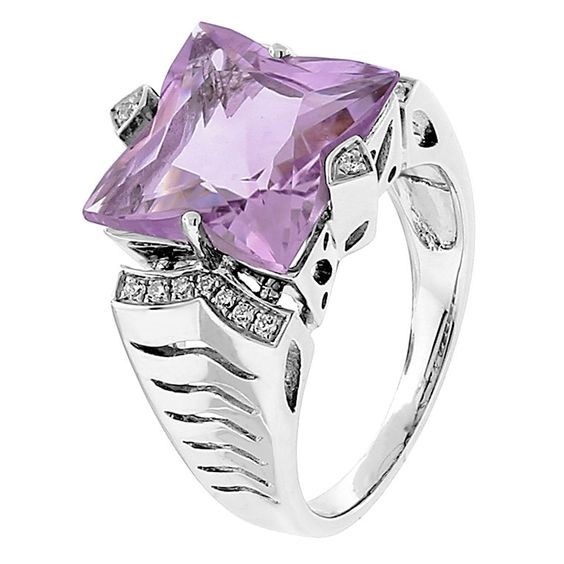 Rose de France Amethyst and Diamond Ring