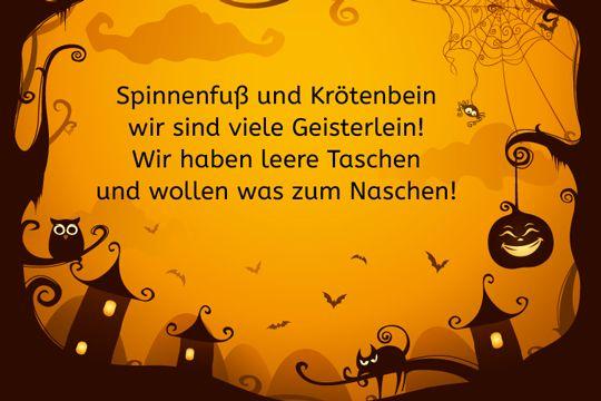 Halloween-Spruch: Spinnenfuß und Krötenbein