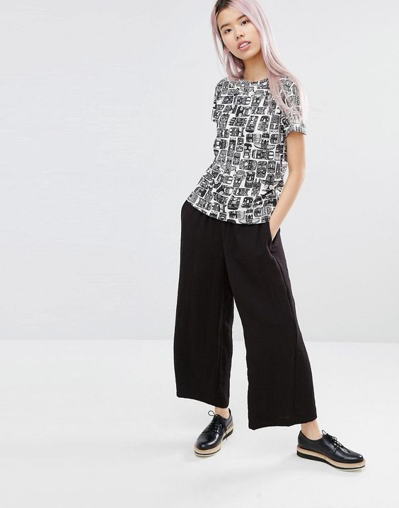 graphic t shirt black and white print / wide leg cropped pant / clean / confident / casual