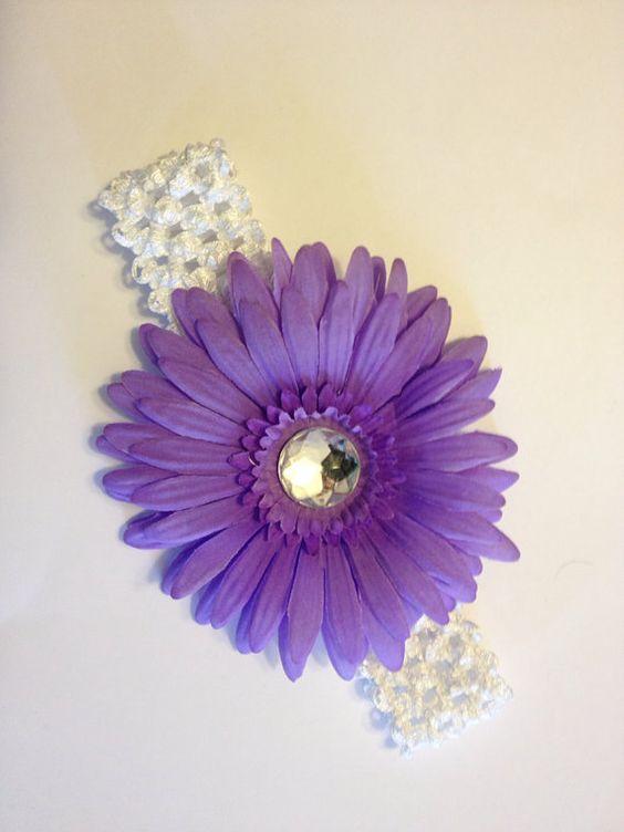 Baby Headband - Daisy Flower Crochet Headband Baby Toddler Girl Adult - Purple on Etsy, $3.00
