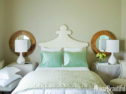 Bedroom with seafoam green accents. Design: Kay Douglass. Photo: Eric Piasecki. housebeautiful.com. #bedroom #seafoam_green #green #throw_pillows @mirror